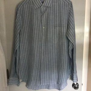 Men's linen stripe shirt
